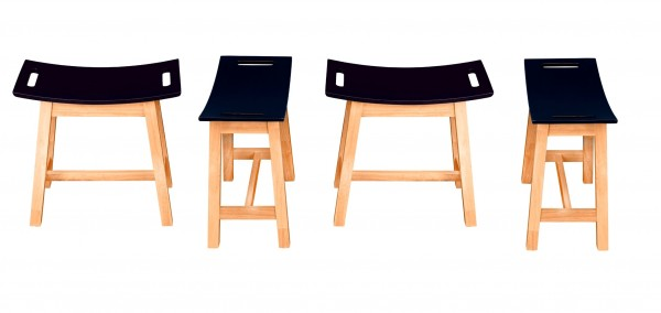 Barhocker aus Kautschukholz - Moderner Holzhocker mit geschwungener Sitzfläche