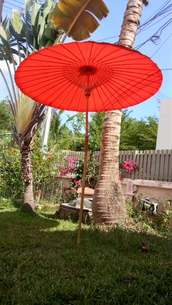 Sonnenschirm aus Bambus - Handgemachter Bambusschirm als Garten oder Dekoschirm in 2 Farben