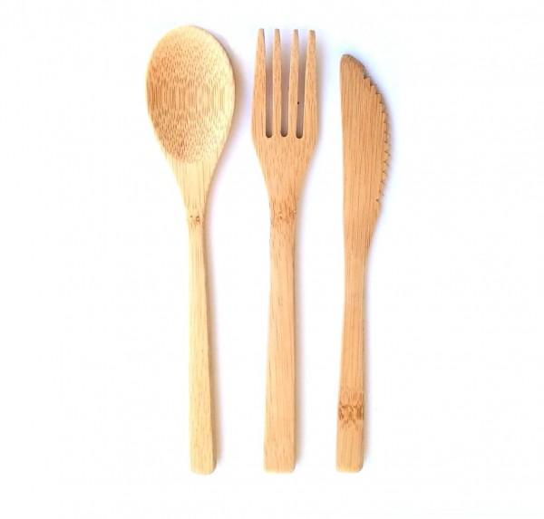 Bambus Besteckt - Bambus Messer Gabel Löffel
