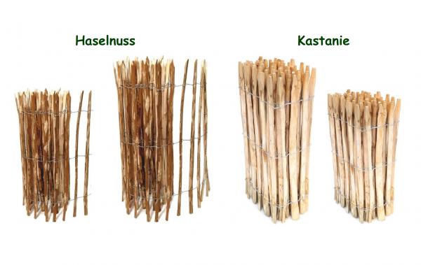 Staketenzaun Kastanie oder Haselnuss - Staketen Rollzaun Natur Lattenzaun Garten