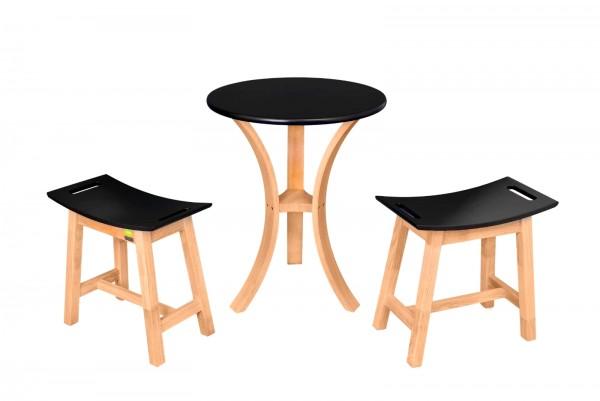 Tisch-Set aus Tropenholz Tisch + 2 Hocker - Balkon Möbel Holz Tisch Hocker Garten Holzhocker